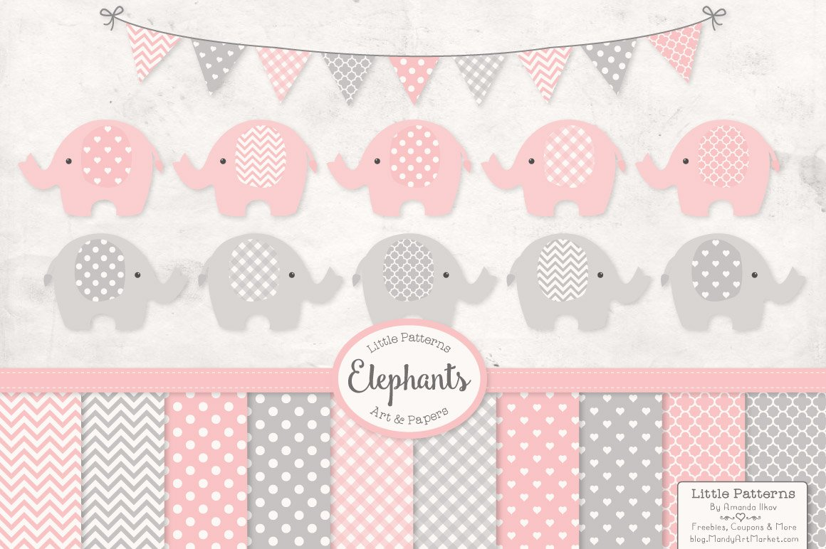 Pink and Grey Elephant Clipart ~ Illustrations ~ Creative ...