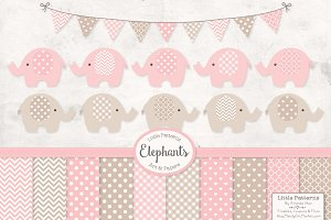 Baby Pink Elephant Vectors
