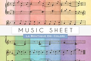 Colourful Music Sheet Digital Papers