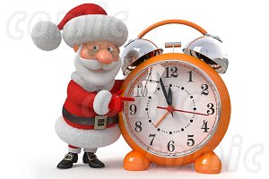 Santa Claus with an alarm clock