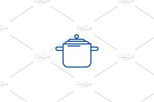 Pressure cooker,thermo pot line icon