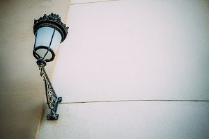 Streetlight anchored to the wall.