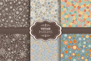 Set of 6 seamless pattern in floral