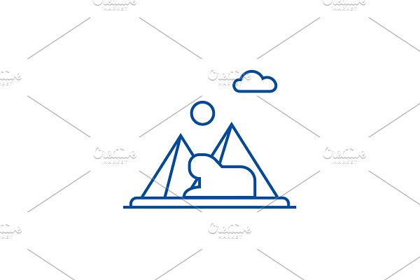 Pyramids,egypt line icon concept