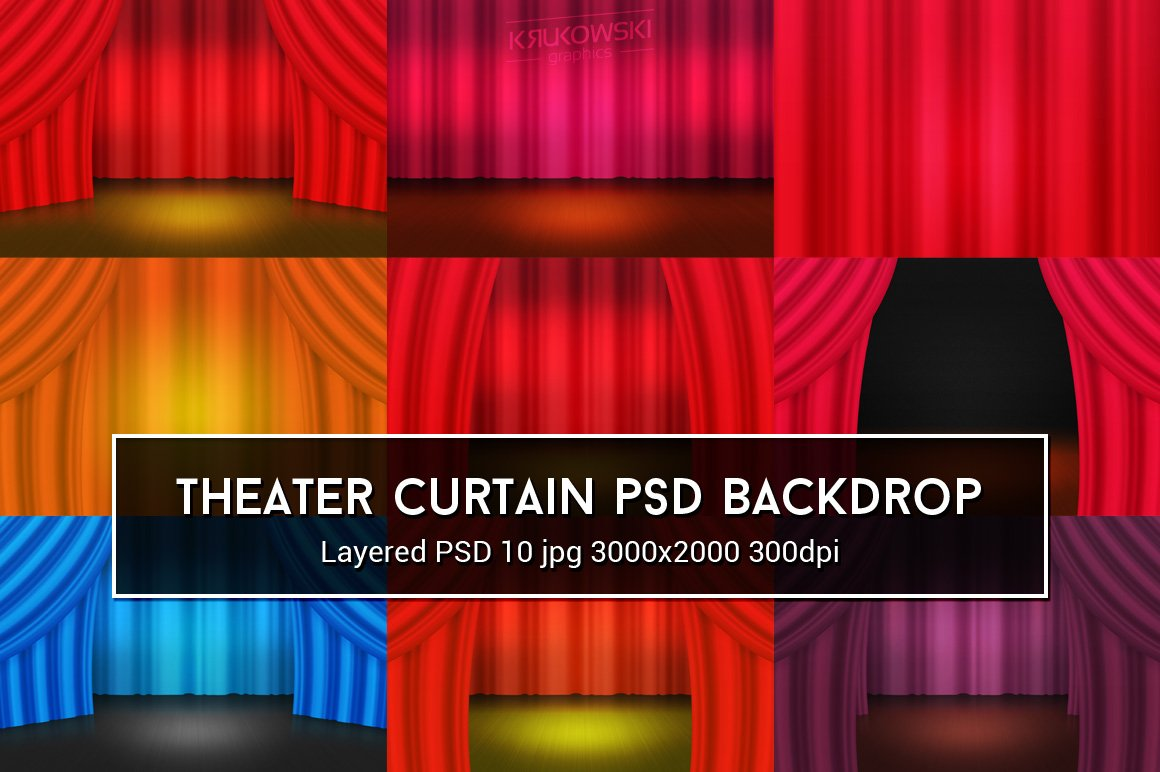 Theater curtain psd backdrop textures creative market for Theatre curtains psd