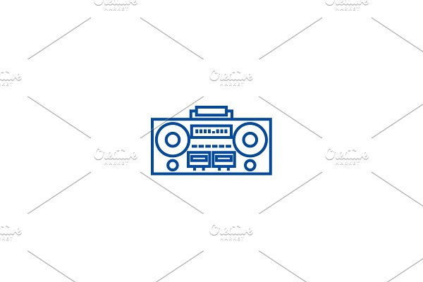 Record tape player line icon concept