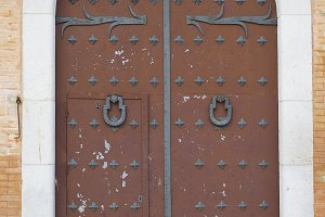 Very old and historic wooden door