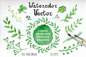 Watercolor green branches vector