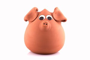terracotta piggy bank, isolated