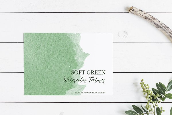 Soft Green Watercolor Textures