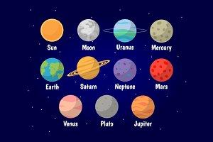 Set of Planets vector illustration
