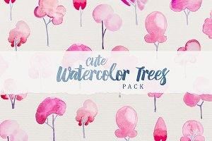 Cute Watercolor Trees