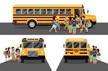 Children get on school bus