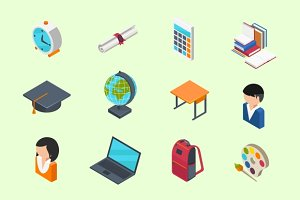 Education isometric icons