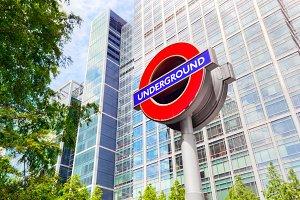 Underground station sign, London