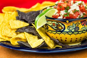 Nacho ships and salsa