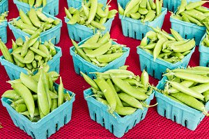 Boxes of fresh green peas
