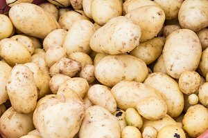 White fresh potatoes at market