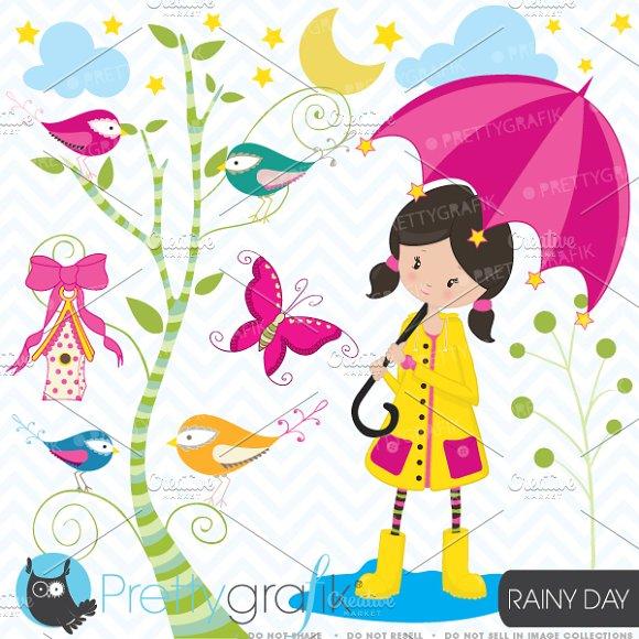 little girl in the rain clipart ~ Illustrations on Creative Market