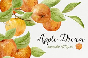 Apple dream. Watercolor DIY set