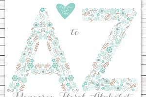 Vector mint floral alphabet