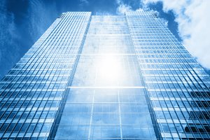 Modern skyscraper in the sunlight