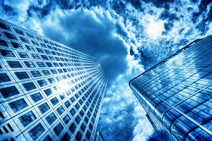 Business skyscraper in the sunlight