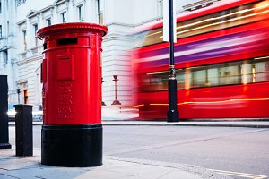 Red mail letter box & bus, London