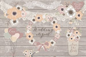 Rustic wedding cliparts