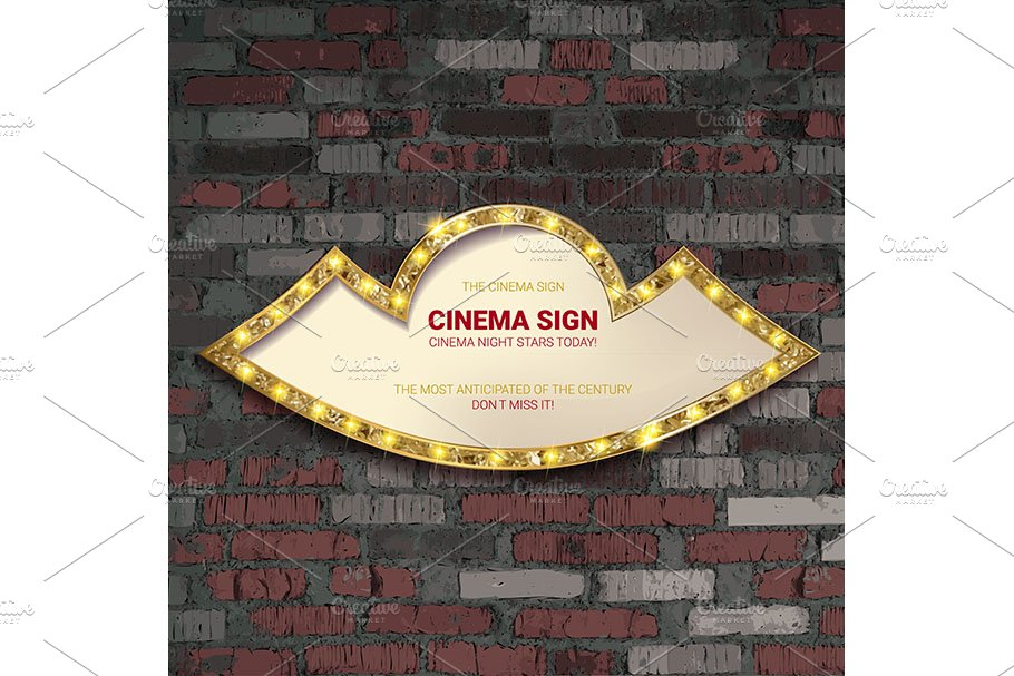 Marquee light gold board sign