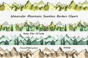 Watercolor Mountain Borders Clipart
