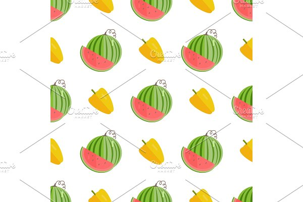Seamless Pattern with Yellow Pepper