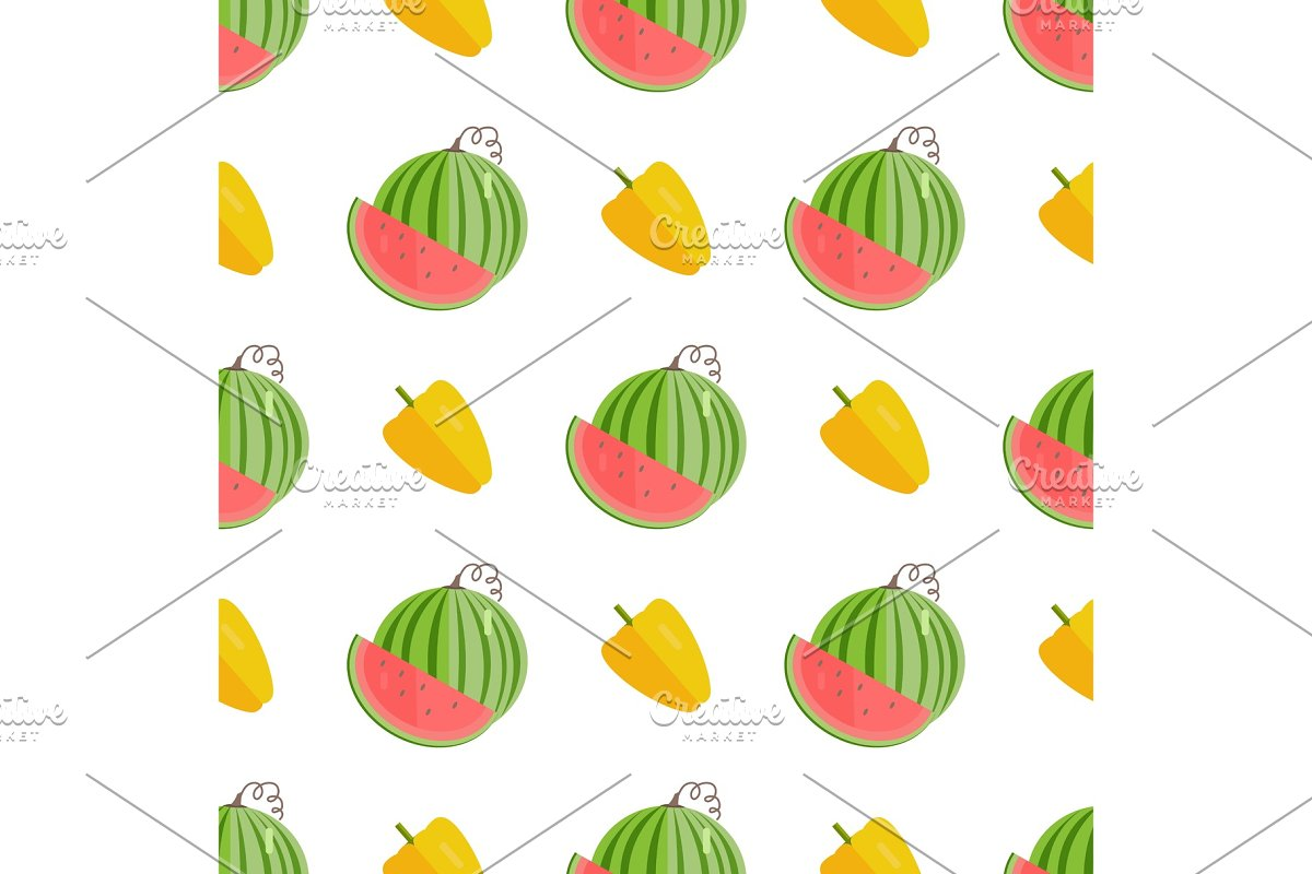 Seamless Pattern with Yellow Pepper in Illustrations - product preview 8