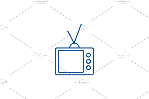 Retro tv line icon concept. Retro tv