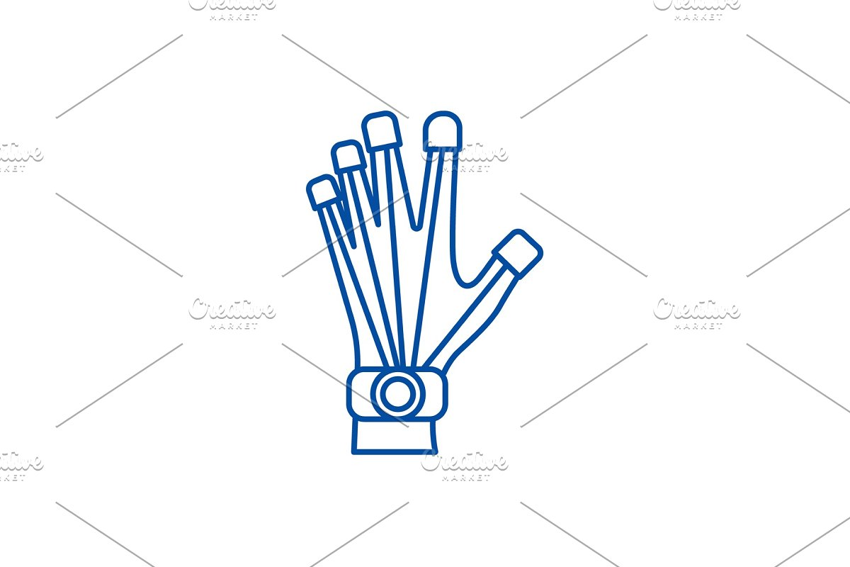 Robotics hand line icon concept in Illustrations - product preview 8