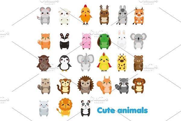 Cute animals. Icons Big set