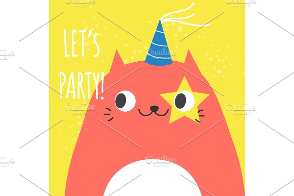 Doodle funny cat in party hat