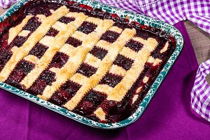 Marionberry cobbler in pan