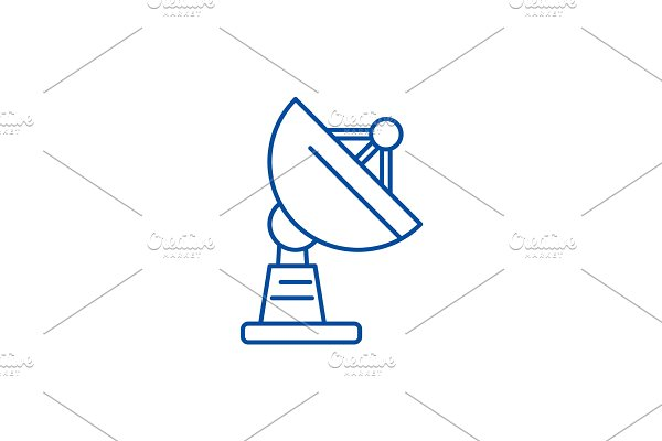 Satellite dish line icon concept