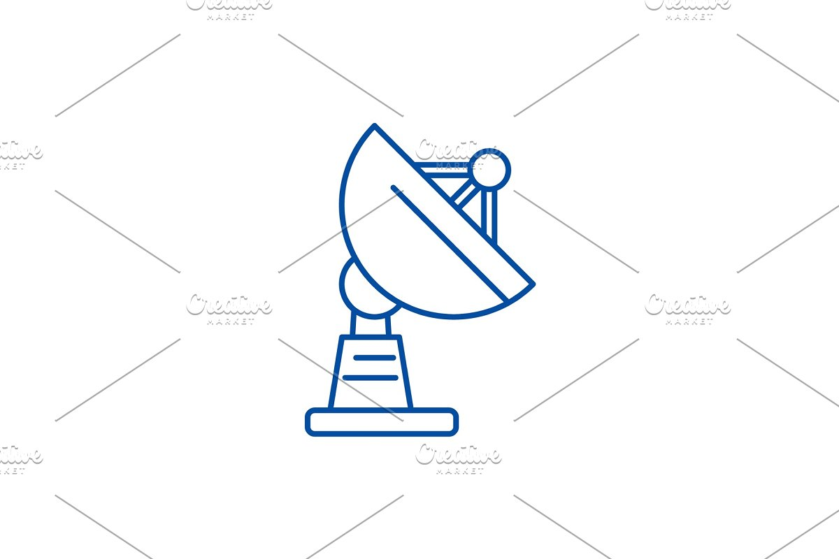 Satellite dish line icon concept in Illustrations - product preview 8