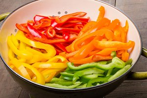 Bowl of colorful pepper slices