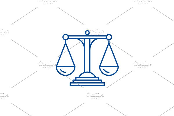 Scales of justice line icon concept