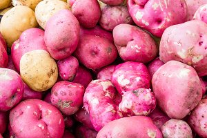 Red potatoes at the market