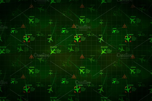 Green military radar with planes