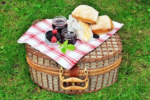 Fresh bread and jam for picnic