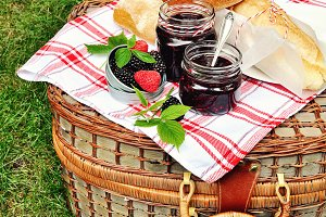Bread and jam for picnic