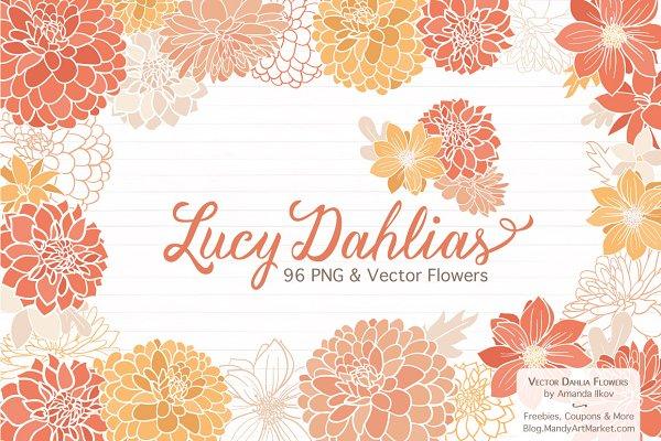 Peach Dahlia Flower Vector Clipart