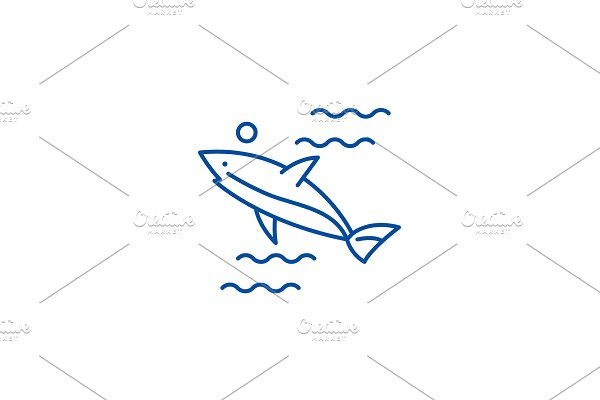 Shark line icon concept. Shark flat