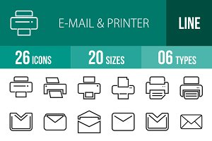 26 Email & Printer Line Icons
