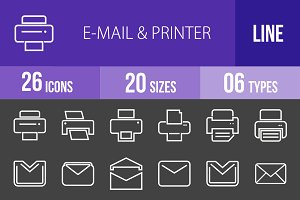 26 Email&Printer Line Inverted Icons